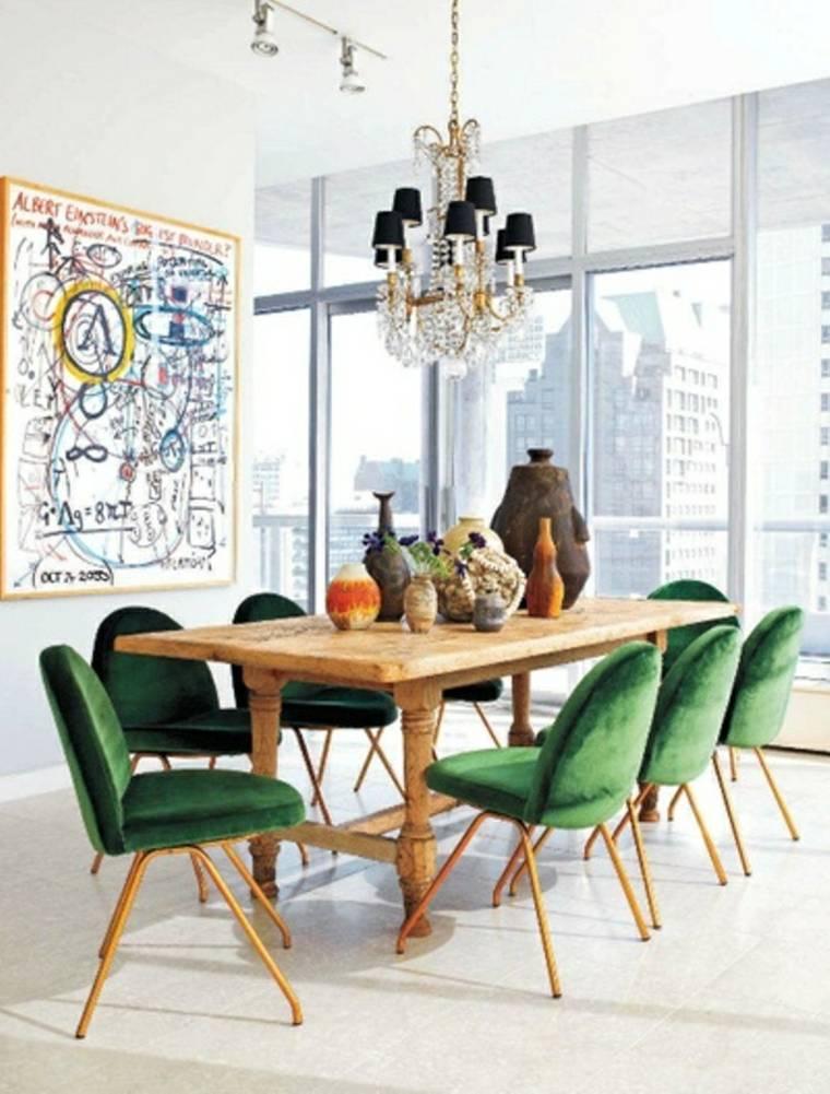 comedor modeno conjunto sillas verdes