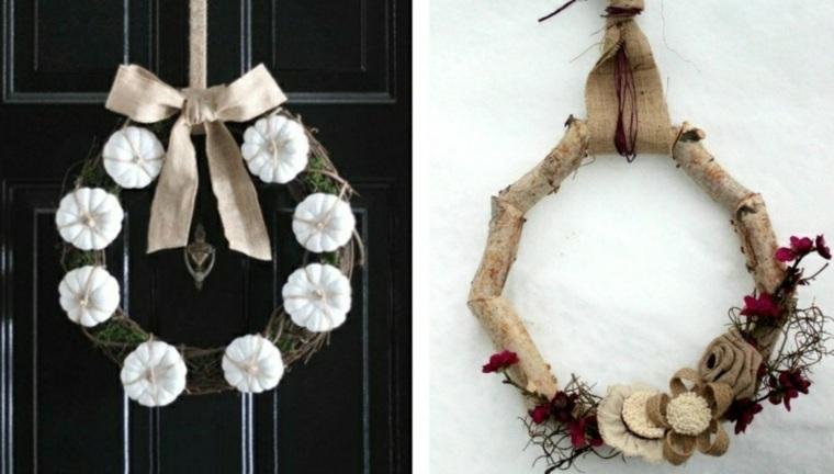 coronas de flores calabazas blancas imagenes