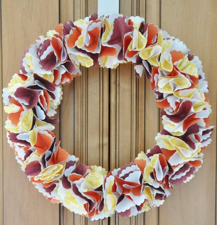 coronas de flores segmentos cartulina diy