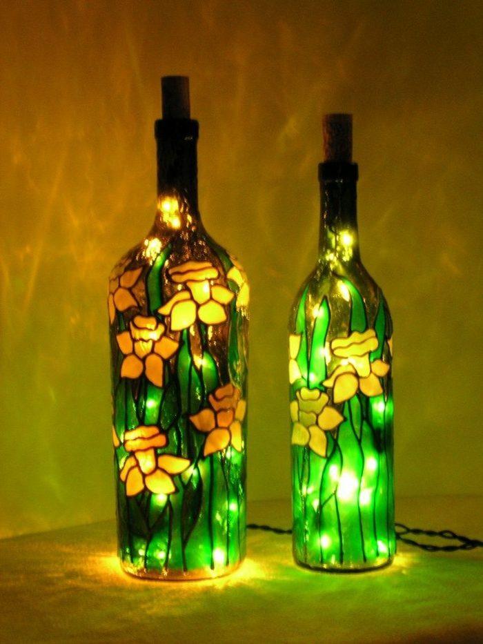 creativas lampara especiales pintadas flores