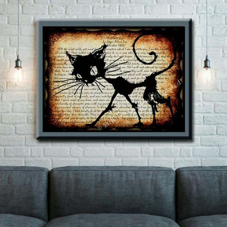 cuadro gato negro Edgar Allan Poe