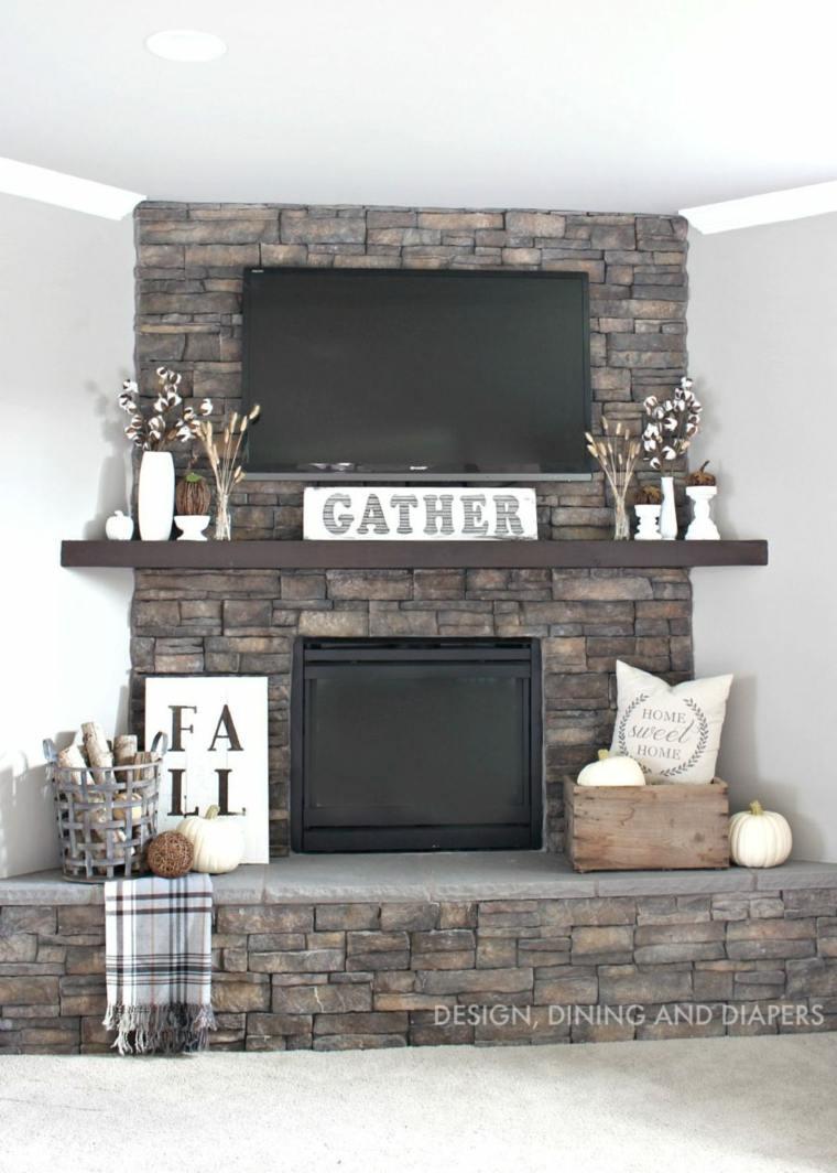 decorar chimenea tonos grises