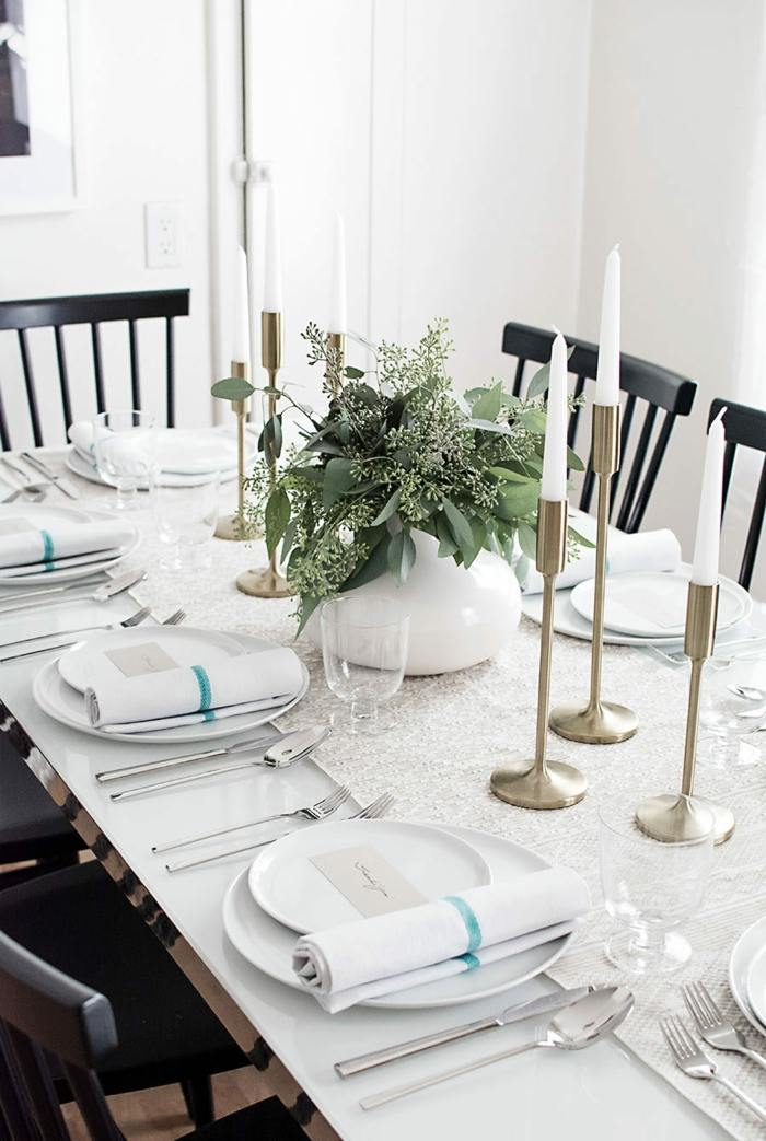 decoracion centro de mesa blanco elegante ideas