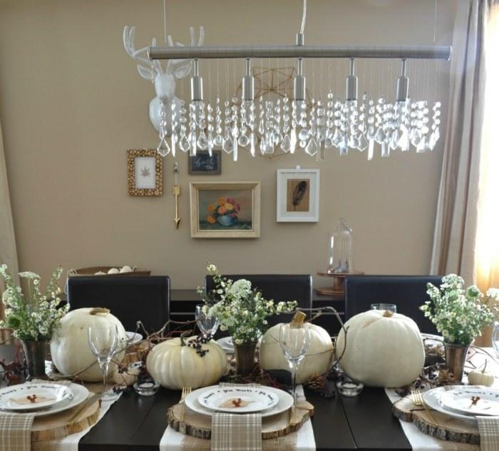 decoracion centro de mesa blanco negro otono ideas