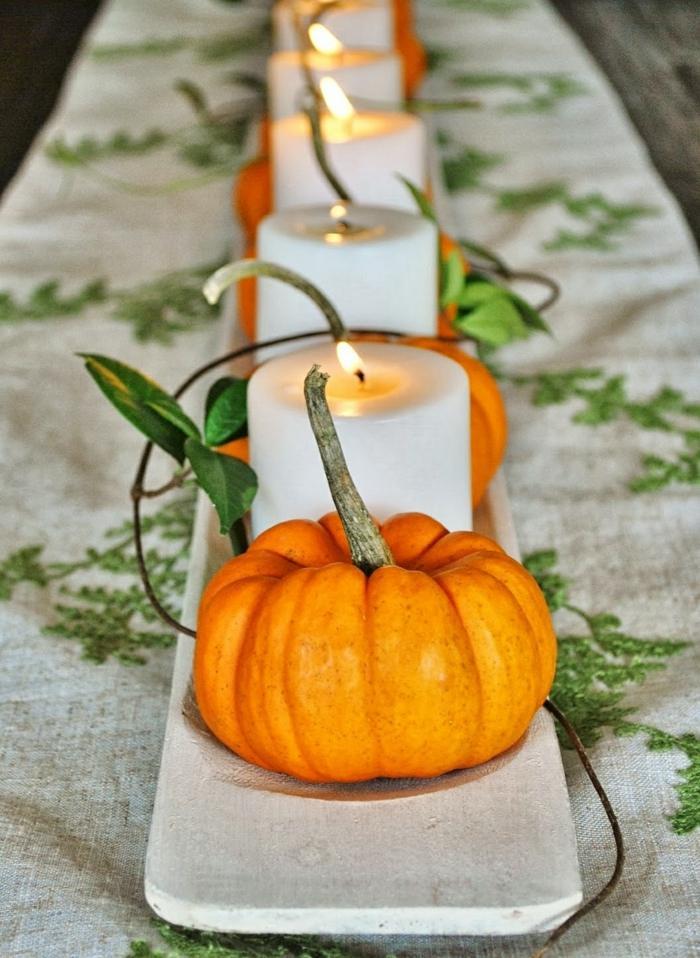 decoracion centro mesa calabazas velas ideas