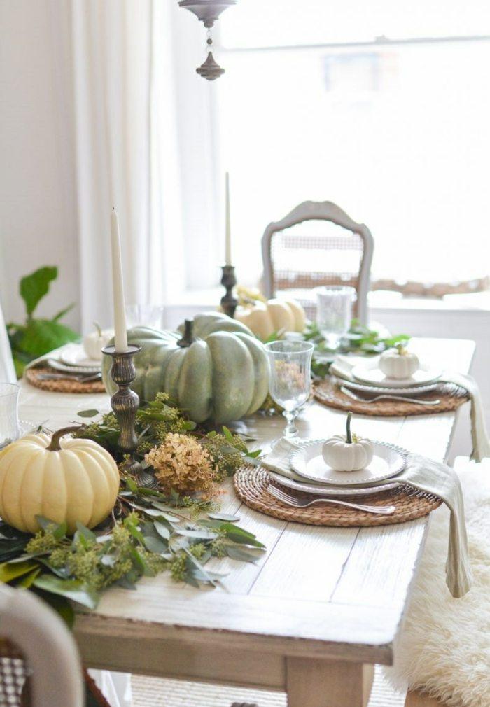 decoracion centro de mesa facil mesa calabazas velas ideas