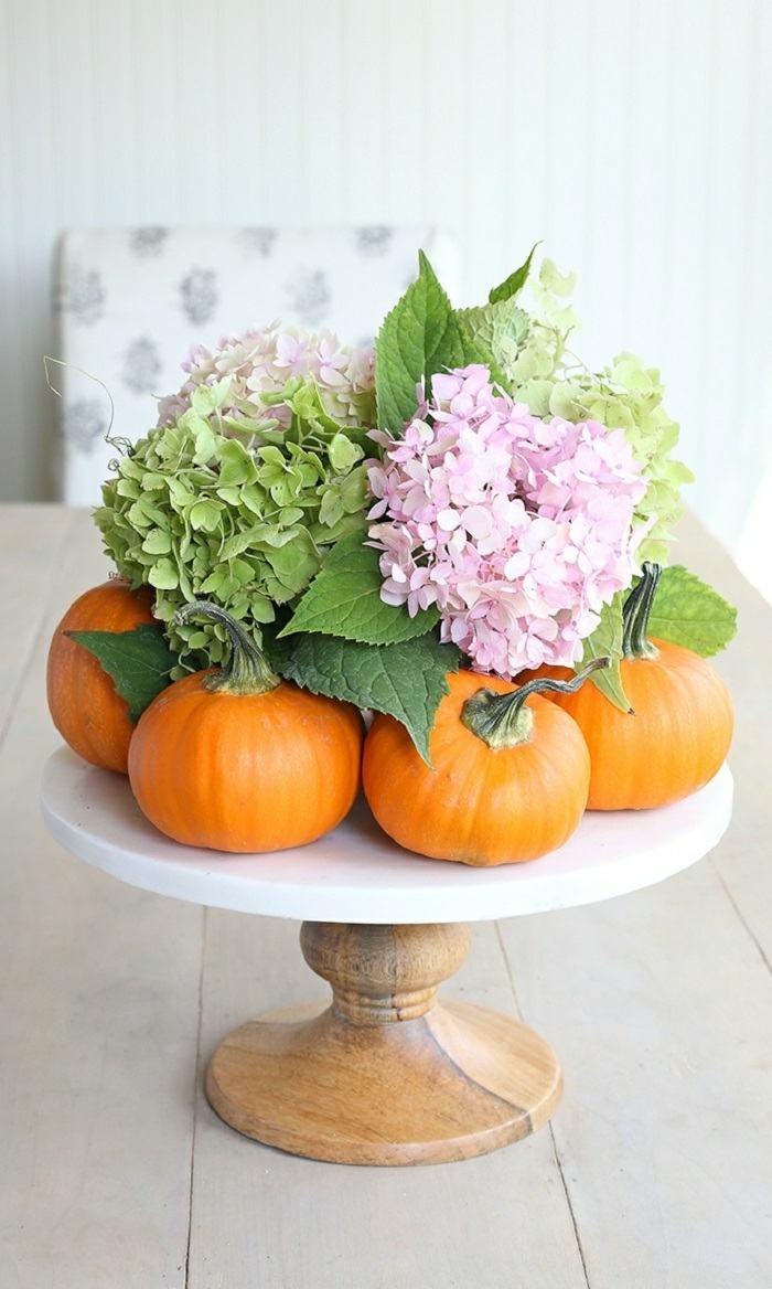 decoracion centro mesa flores calabazas ideas