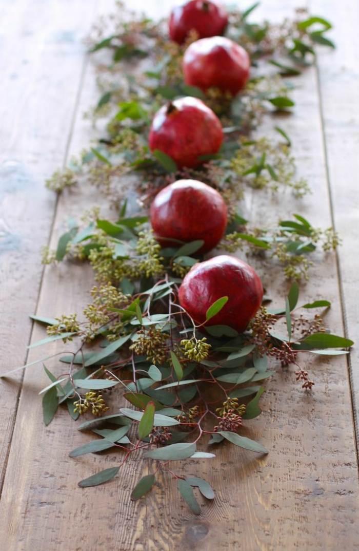 decoracion centro de mesa hojas frutas ideas