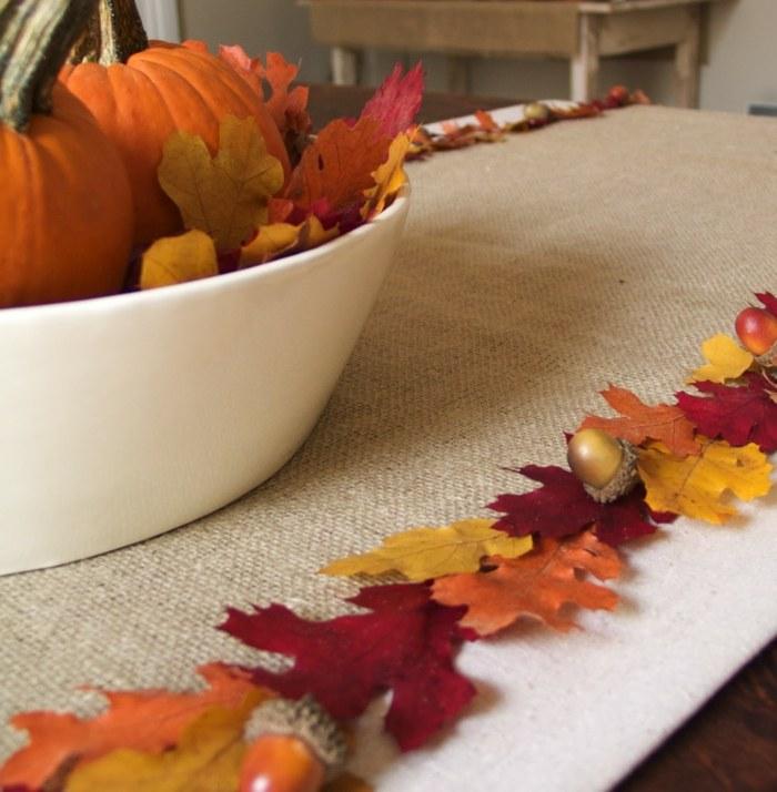 decoracion centro mesa hojas secas ideas