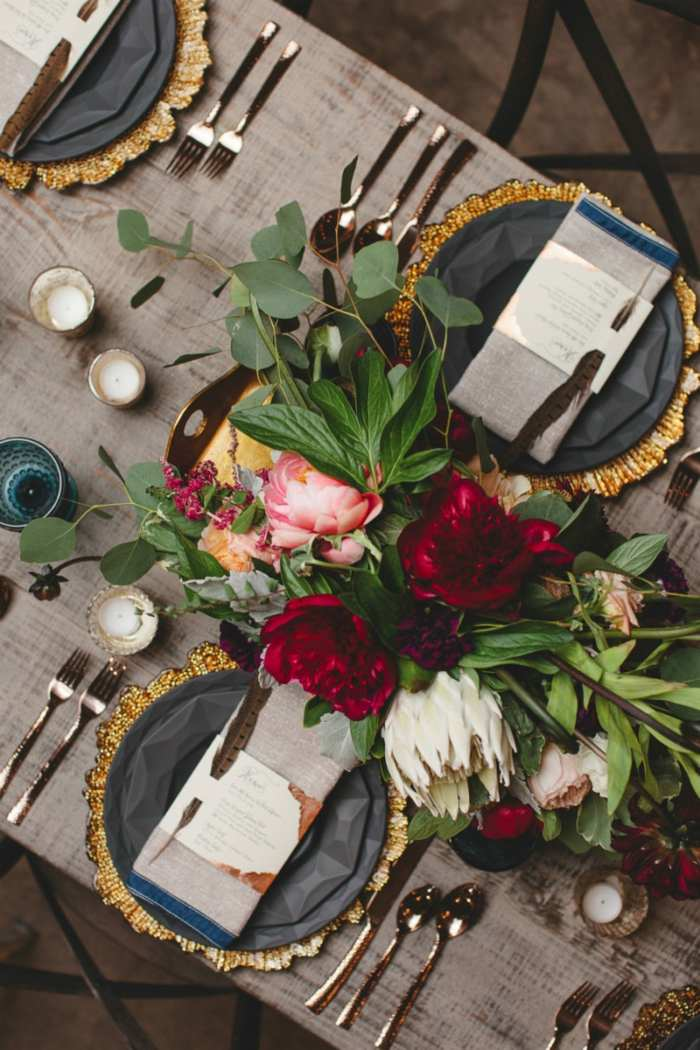 decoracion centro de mesa lujoso flores ideas