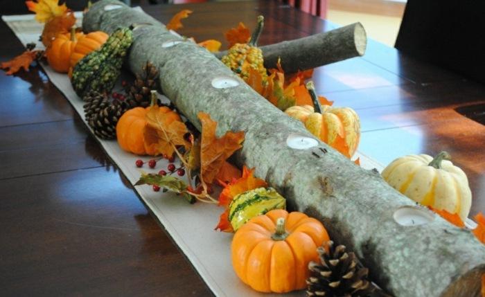 decoracion centro de mesa madera velas ideas