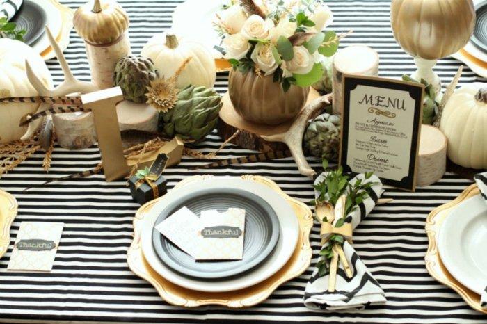 decoracion centro de mesa mantel rayas ideas