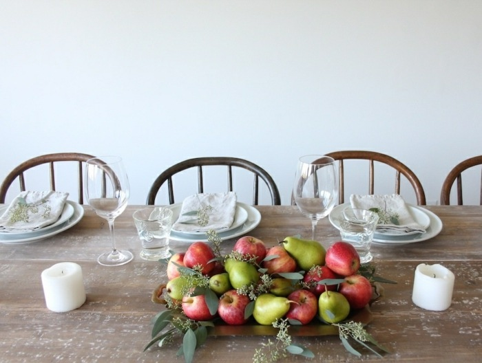 decoracion centro de mesa peras manzanas ideas