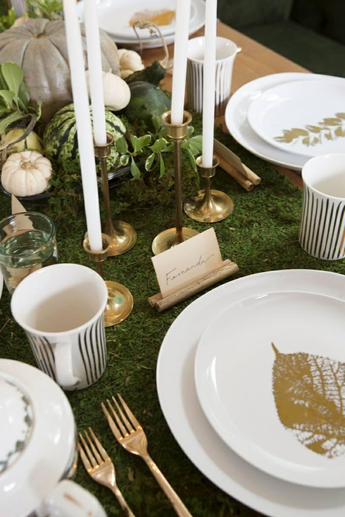 decoracion centro de mesa platos hojas ideas