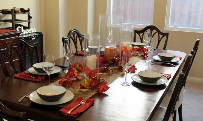 decoracion centro de mesa velas hojas ideas