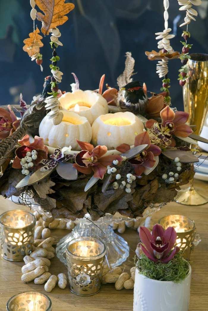 decoracion centro de mesa velas iluminacion mesa ideas