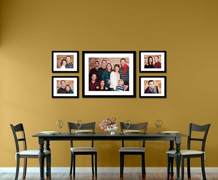 decoración con fotos en la pared