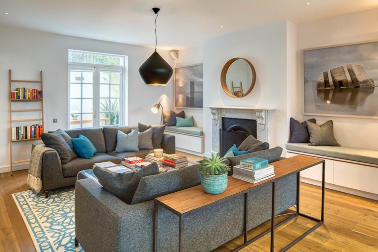 decoracion de salones clasicos sofas grices ideas