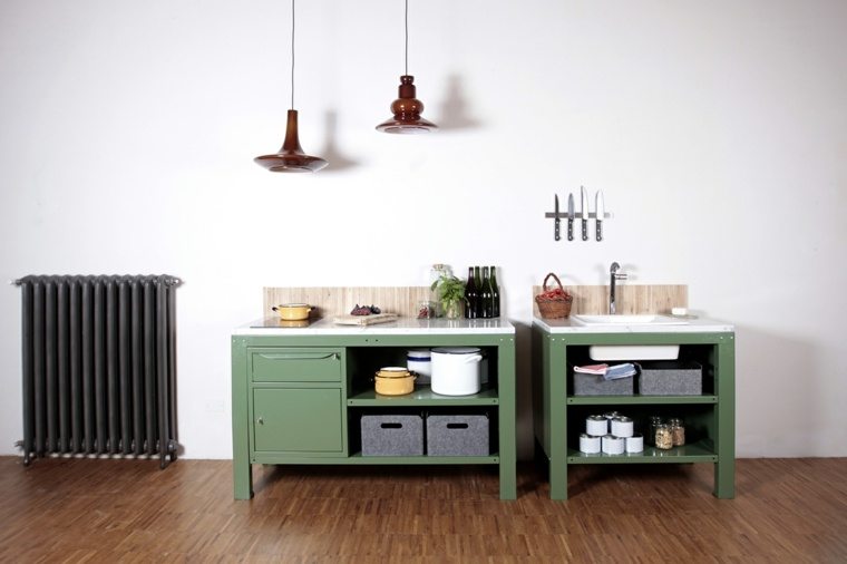 decoracion diseno cocinas simple verde ideas