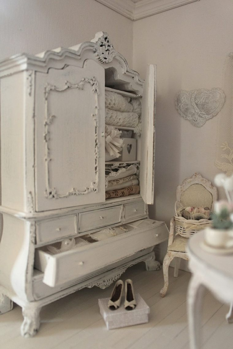 decoracion estilo shabby chic dormitorio armario blanco ideas