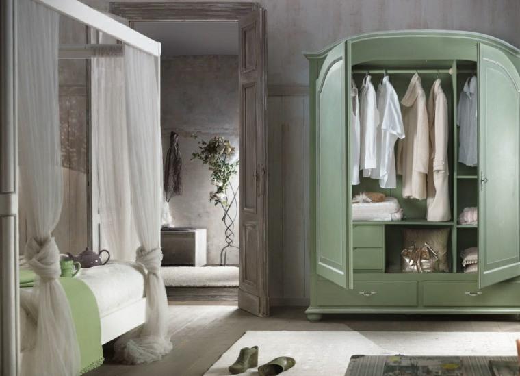 decoracion estilo shabby chic dormitorio armario verde ideas