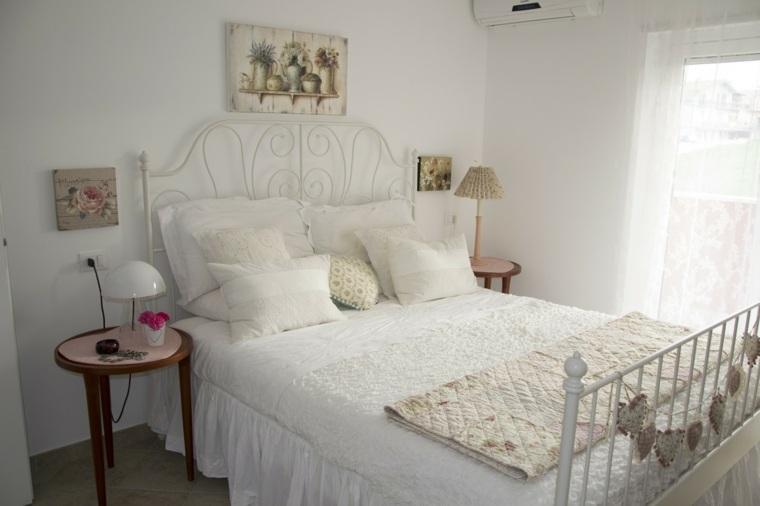 decoracion estilo shabby chic dormitorio cama acero ideas
