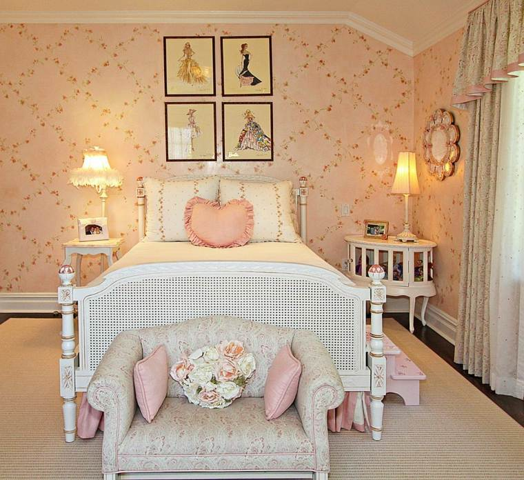 decoracion estilo shabby chic dormitorio estampas originales ideas