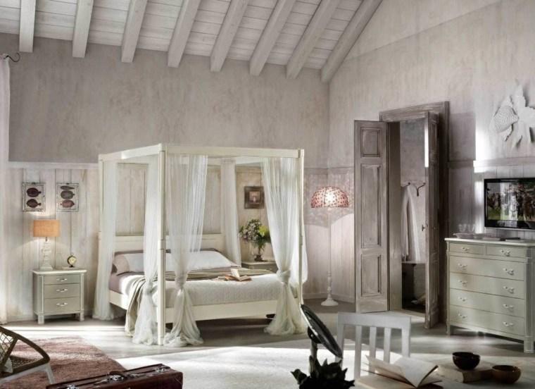 decoracion estilo shabby chic dormitorio madera dosel ideas
