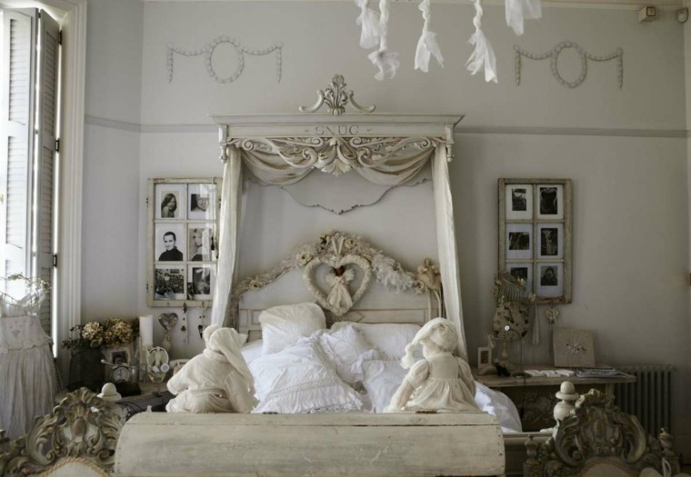 decoracion estilo shabby chic dormitorio pared decorada ideas