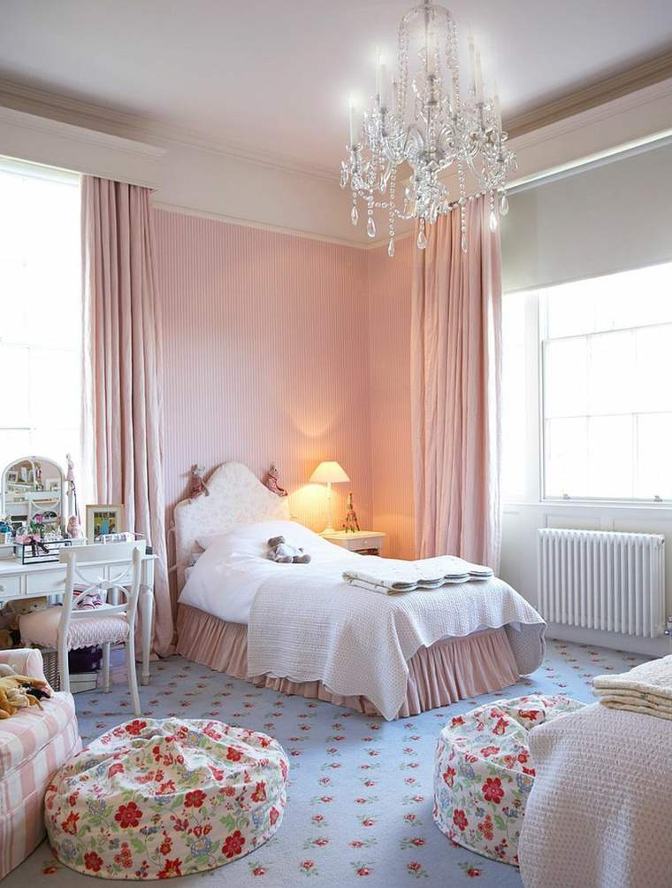 decoracion estilo shabby chic dormitorio pared rosa acentos ideas