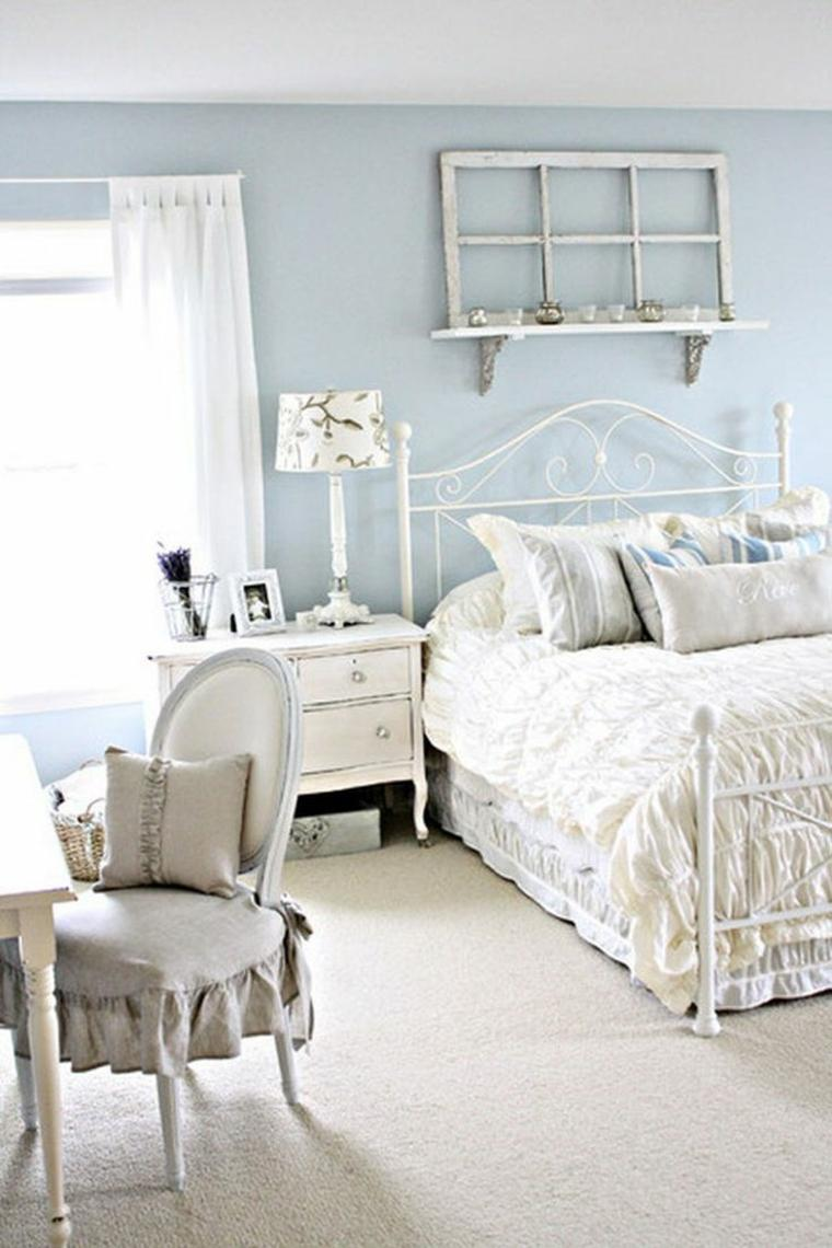 decoracion estilo shabby chic dormitorio paredes azules ideas