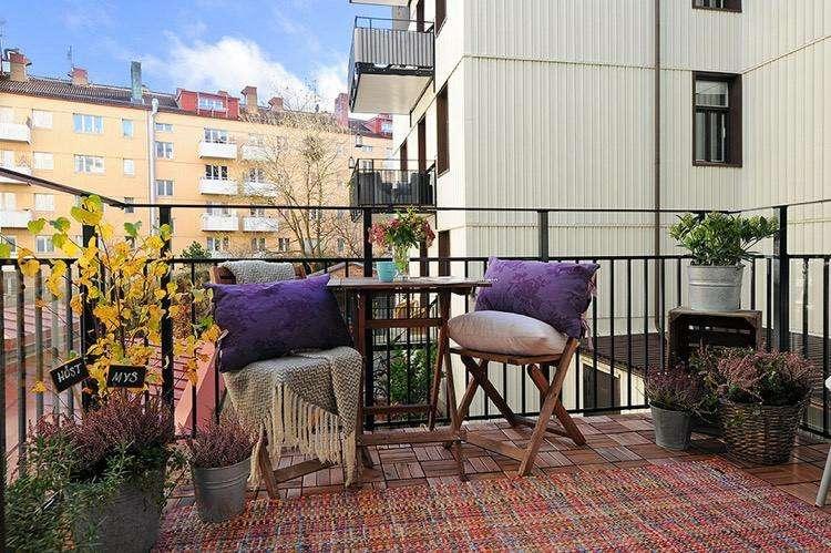 decoracion facil balcon otono alfombra ideas