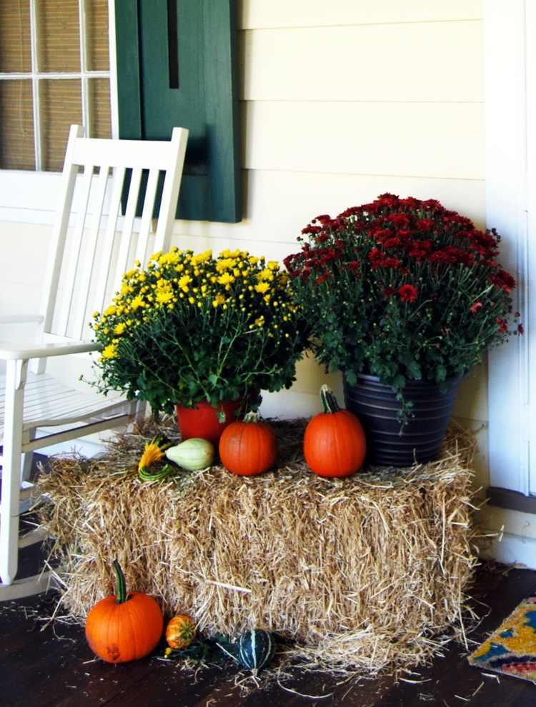 decoracion facil balcon otono heno flores paja ideas
