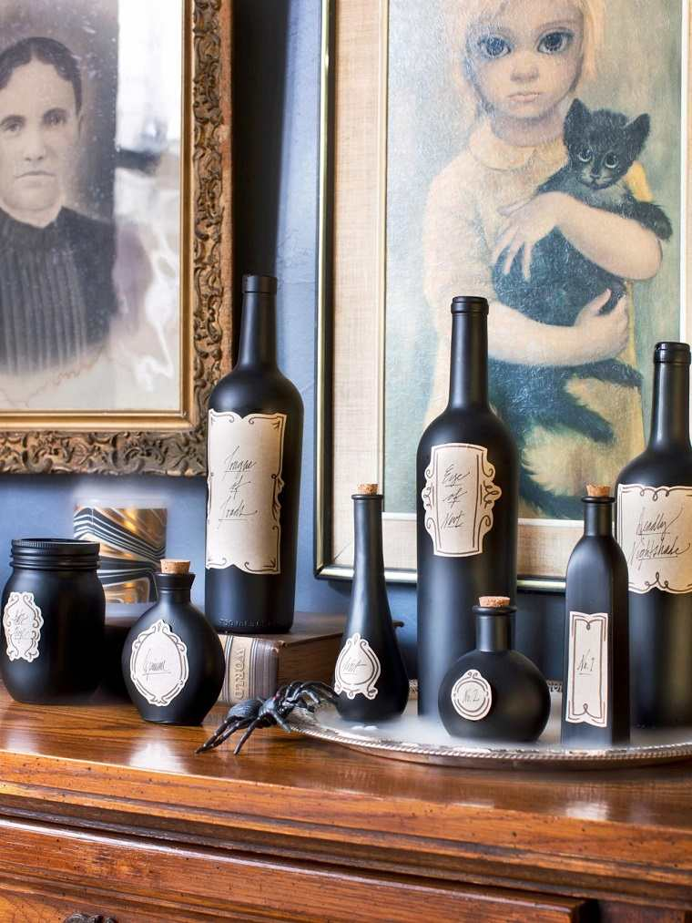 decoracion halloween moderna botellas negras ideas