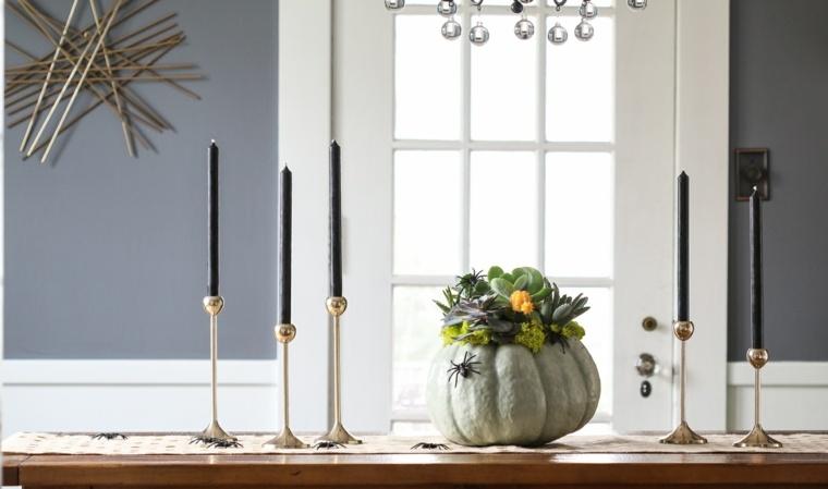 decoracion halloween moderna calabaza velas negras ideas