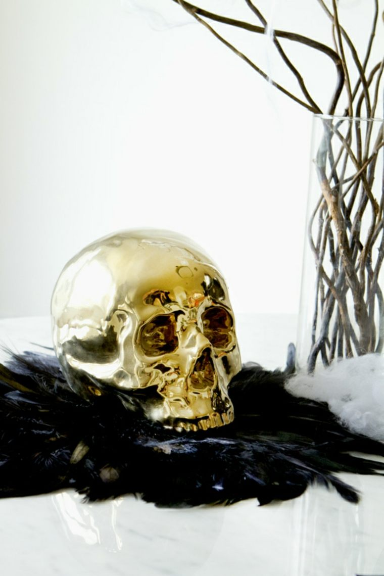 decoracion halloween moderna calavera oro original ideas