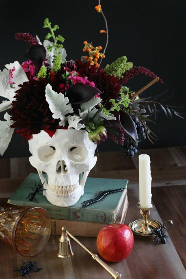 decoracion halloween moderna flores craneo ideas