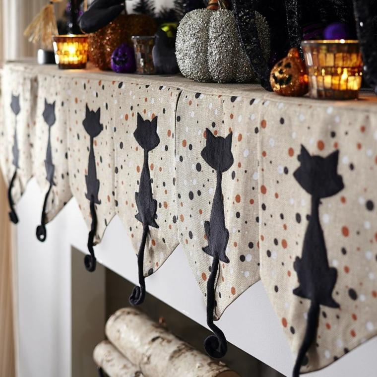 decoracion halloween moderna mantel gato negro ideas