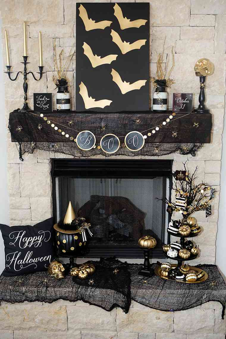 decoracion halloween moderna negro oro lijo ideas