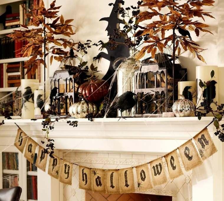 decoracion halloween moderna opciones chimenea ideas