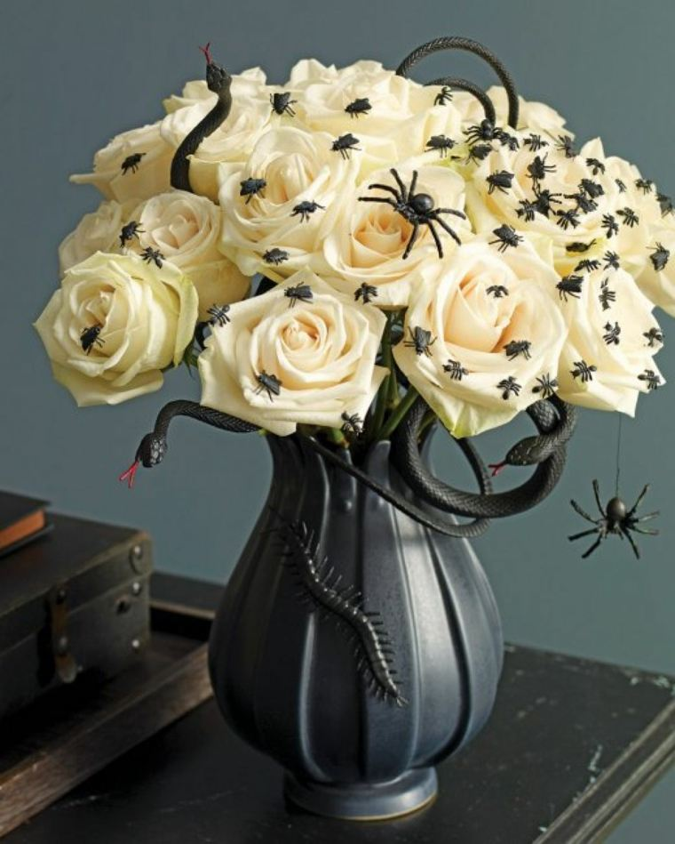 decoracion halloween moderna ramo rosas blancas ideas
