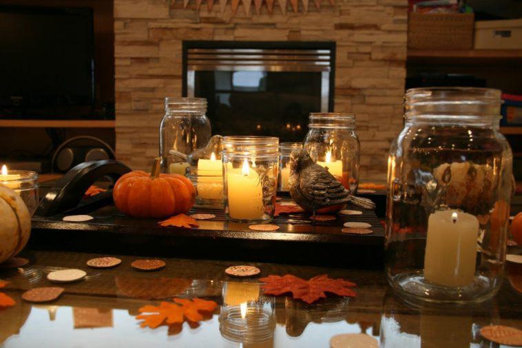 decoracion mesa moderna otono velas