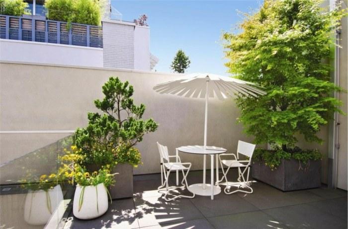 decoracion terrazas casa muebles blancos plantas ideas