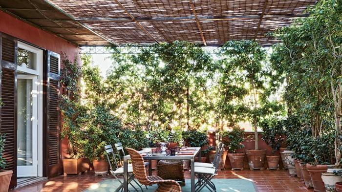 decoracion terrazas diseno comedor aire libre plantas ideas