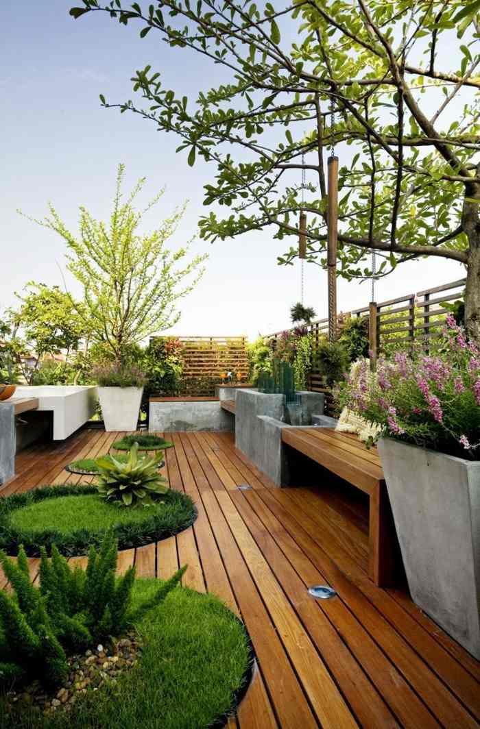 decoracion terrazas diseno suelo madera plantas ideas