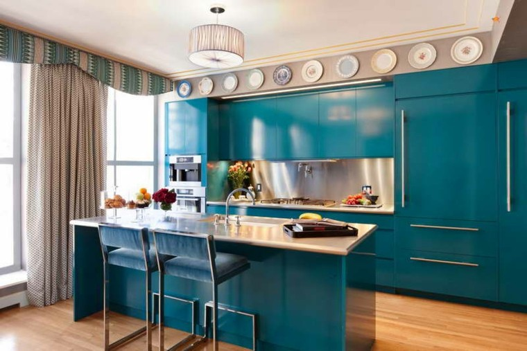 decoracion y diseno de cocinas color azul ideas
