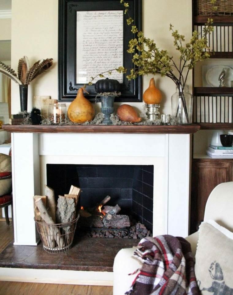 decorar la chimenea otono