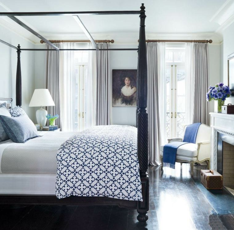 decorar un dormitorio de matrimonio cama dosel negro ideas