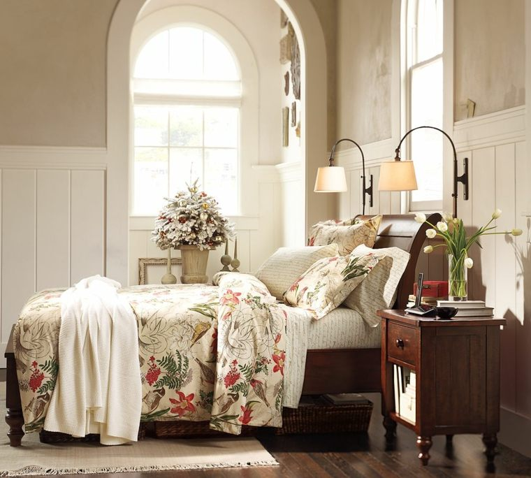 decorar un dormitorio de matrimonio mantas acento floral ideas