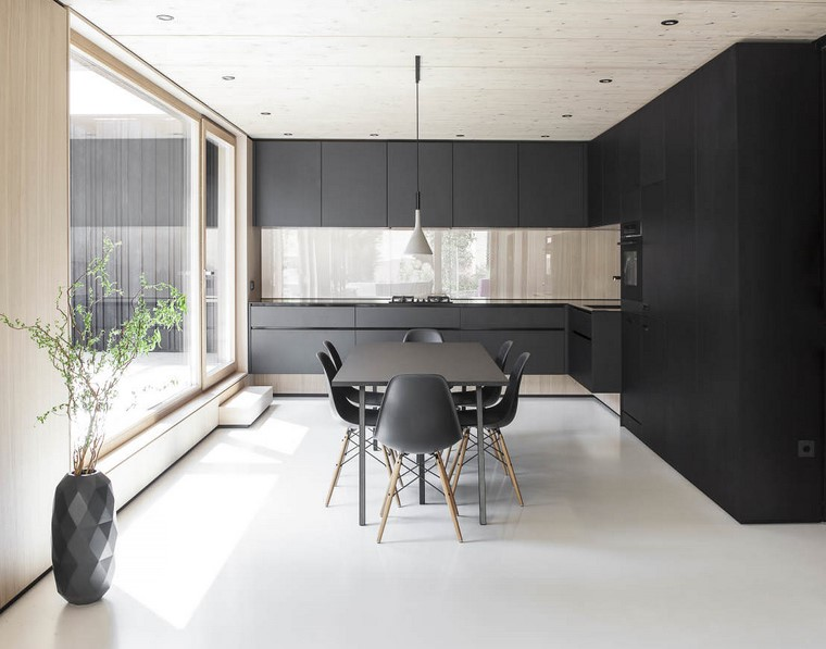decoracion interiores minimalistas cocina negro ideas